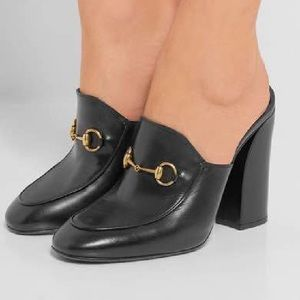Gucci Julie High Princeton black leather mule